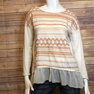 Sundance embroidered long sleeve with sequins